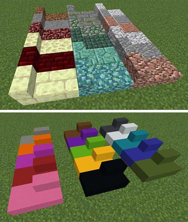 Imagen donde podemos ver un par de ejemplos de los nuevos bloques que podremos fabricar gracias al mod Absent by Design 1.15.1 y 1.15.2.