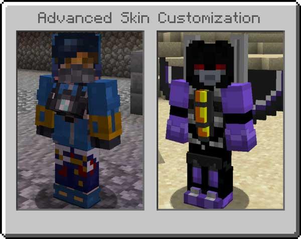 Imagen donde podemos ver un par de ejemplos de las skins personalizadas que podremos crear con el mod Advanced Skin Customization 1.15.2.