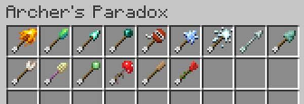 Imagen donde podemos ver la nueva variedad de flechas que añade el mod Archer's Paradox 1.15.2.