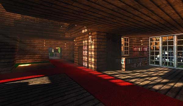 Imagen del interior de una casa de grandes dimensiones, con un toque más moderno, decorada con las texturas Battered Old Stuff Texture Pack 1.16, 1.15 y 1.12.