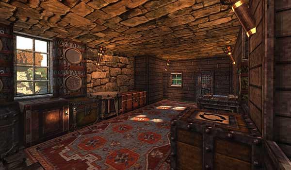 Imagen donde podemos ver el interior de una pequeña casa rústica, decorada con las texturas de Battered Old Stuff 1.16, 1.15 y 1.12.