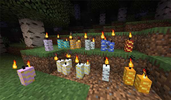 Imagen donde podemos ver todos los tipos de velas que podremos hacer con el mod Buzzier Bees 1.15.1 y 1.15.2.