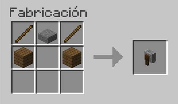 Receta para hacer una afiladora en Minecraft.