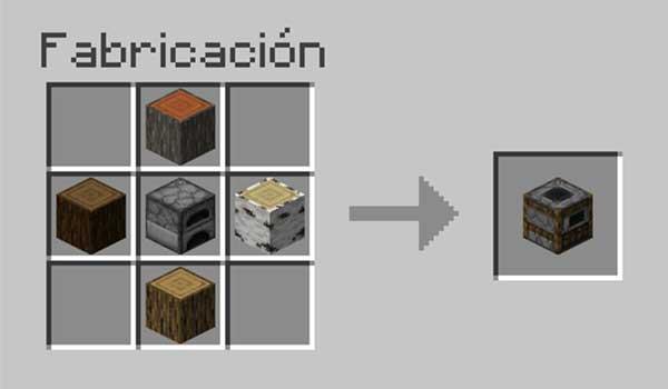 Receta para hacer un ahumador en Minecraft.
