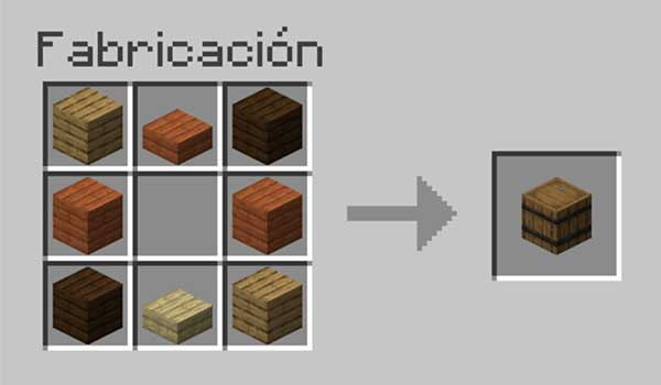 Receta para hacer un barril en Minecraft