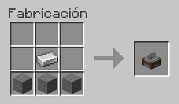 Receta para hacer un cortapiedras en Minecraft.