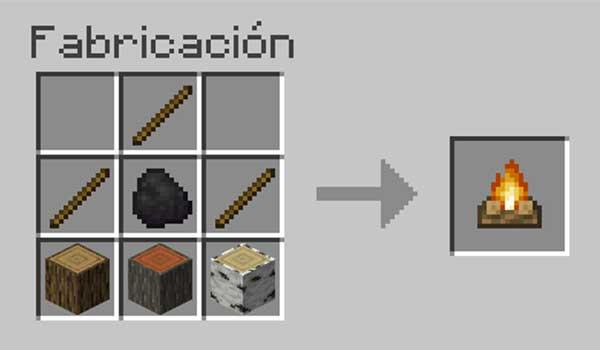 Receta para hacer una hoguera en Minecraft.