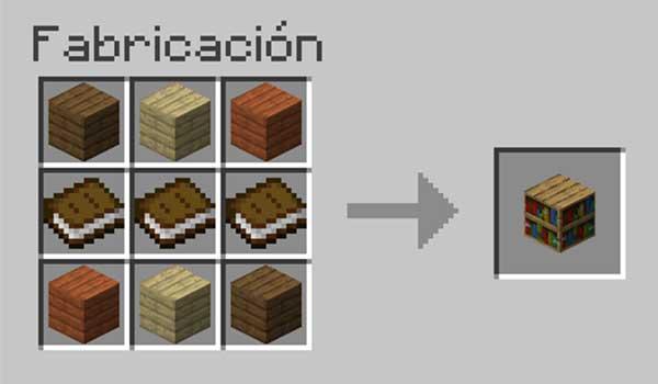Receta para hacer una librería en Minecraft