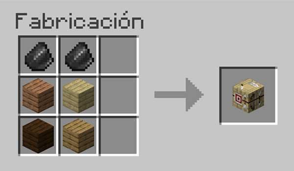 Receta para hacer una mesa de flechas en Minecraft.
