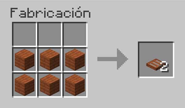 Receta para hacer una trampilla de madera en Minecraft