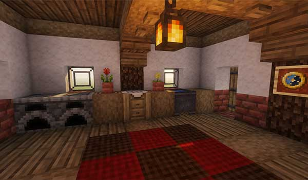 Imagen donde podemos ver el aspecto interior de una vivienda decorada con el paquete de texturas Jicklus 1.16 y 1.15.