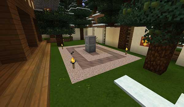 Imagen de un jardín interior, decorado por las texturas que nos ofrece Medial Texture Pack 1.16, 1.15 y 1.14.