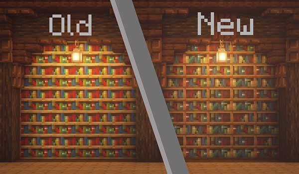 Imagen de una comparativa entre las texturas originales y las texturas de Nate's Tweaks Texture Pack 1.15, 1.14 y 1.13.