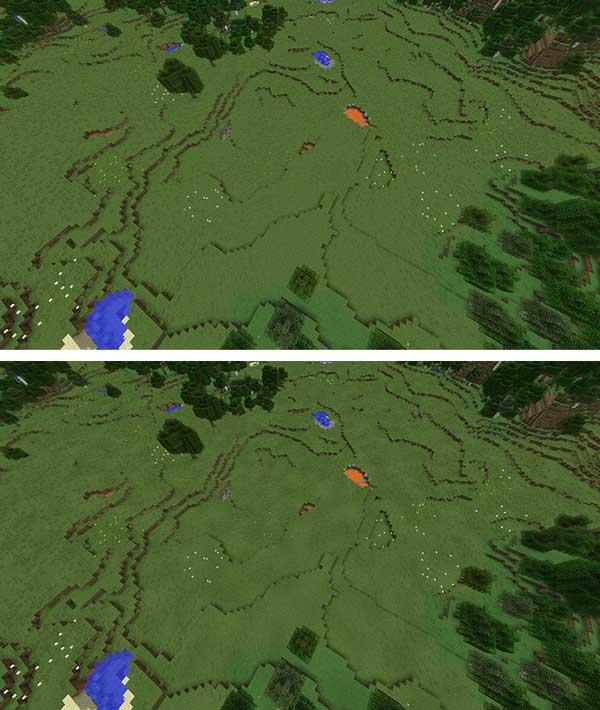 Imagen donde podemos ver una comparación de dos imágenes donde pueden apreciarse los cambios visuales que ofrece el mod Ambient Environment 1.15.2.