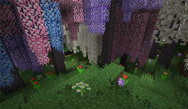 Imagen donde podemos ver un bosque colorido, gracias a las modificaciones del mod Bloomful 1.15.2.
