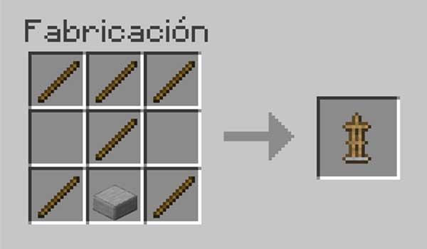 Receta para hacer un soporte para armaduras en Minecraft.
