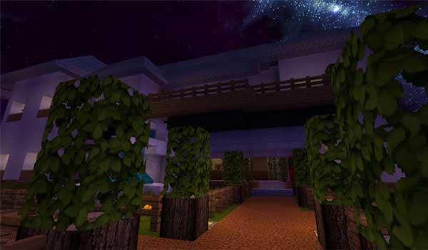 Imagen donde podemos ver una zona de jardines decorados con Karmorakcraft Texture Pack 1.16, 1.15 y 1.12.