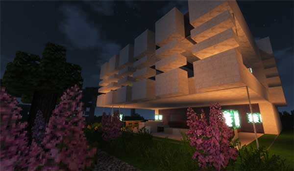 Imagen donde podemos ver el aspecto exterior de una construcción moderna, utilizando el paquete de texturas Karmorakcraft 1.15, 1.14 y 1.12 .