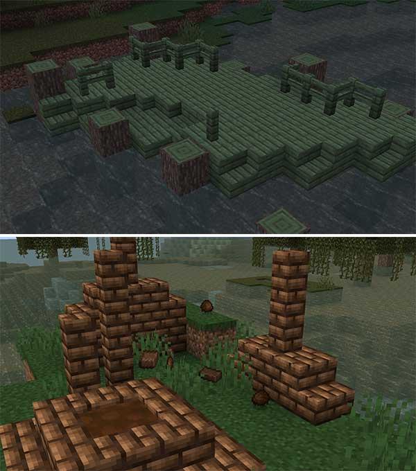 Imagen donde podemos ver los bloques de barro y la nueva madera que encontraremos en los biomas de pantano, añadidos ambos por el mod Swamp Expansion 1.15.2.