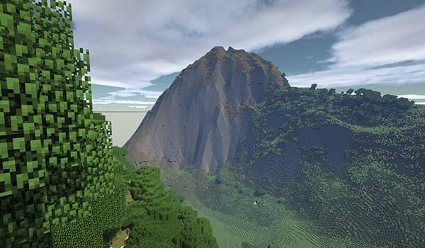 Imagen donde podemos ver una enorme montaña, basada en una montaña real, generada por el mod Terra 1 to 1 1.12.2.