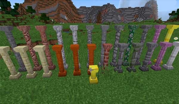 Imagen donde podemos ver un ejemplo de los diversos tipos de columnas, de varios materiales, que podremos crear con el mod Corail Pillar 1.15.2.