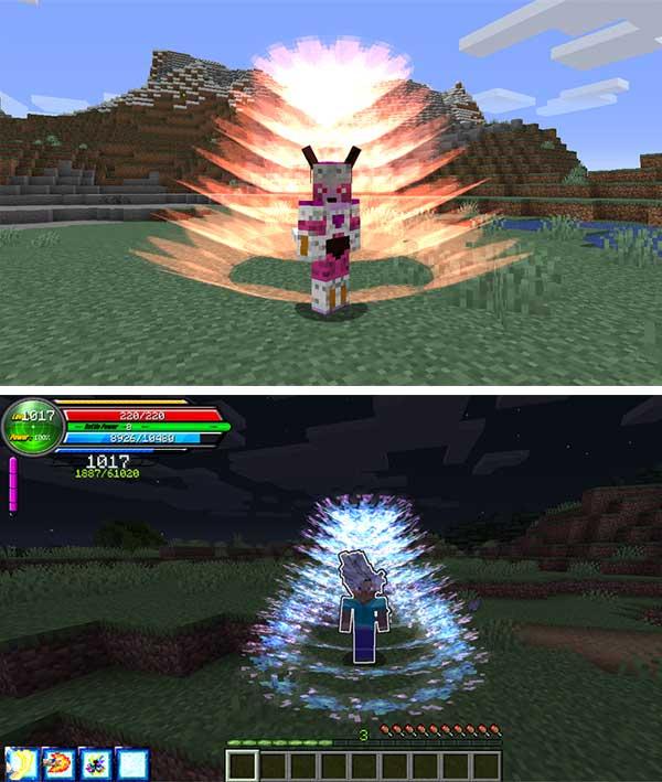 Imagen donde podemos ver algunas de las razas y transformaciones que podremos utilizar con el mod Dragon Block Super 1.15.2.
