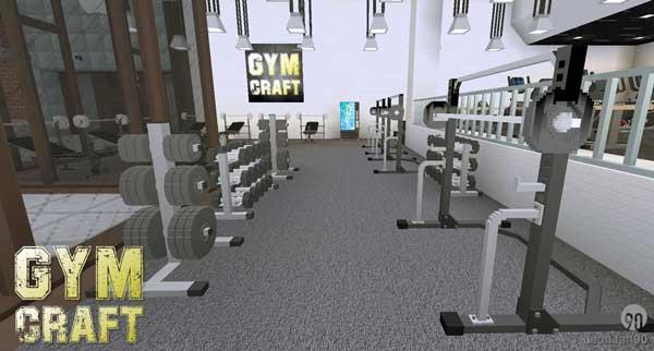 Imagen donde podemos ver un ejemplo de las máquinas y elementos decorativos para crear gimnasios que ofrece el mod GymCraft 1.15.2.