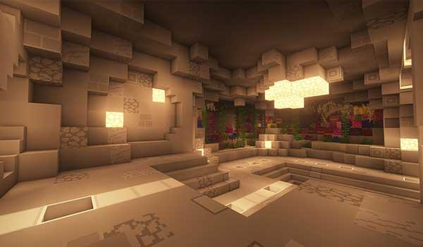 Imagen donde podemos ver el interior de una cueva decorada como vivienda, utilizando las texturas del paquete de texturas de Soboku Texture Pack 1.15, 1.14 y 1.13.