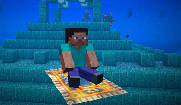 Imagen donde podemos ver un personaje utilizando una alfombra mágica, añadida por el mod The Flying Things 1.15.2, debajo del agua.