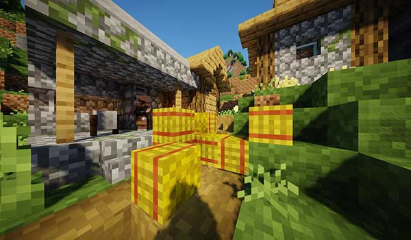 Imagen donde podemos ver el aspecto de una aldea, decorada con el 8-bitCraft Texture Pack 1.17, 1.16 y 1.15.