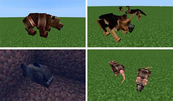 Imagen compuesta donde podemos ver algunos de los nuevos animales que el mod Animalium 1.16.1 añade al juego.