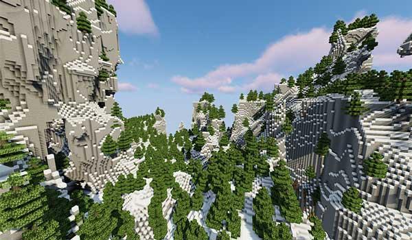 Imagen donde podemos ver uno de los biomas más espectaculares que añade el mod Farm Adventure 1.15.2.