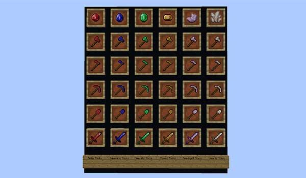 Imagen donde podemos ver los nuevos conjuntos de armas y herramientas que podremos fabricar con el mod Gems and Crystals 1.15.2.