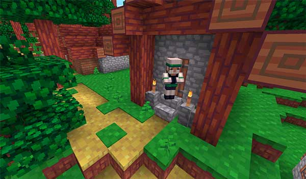 Imagen donde podemos ver el aspecto que tienen las texturas que ofrece el paquete de texturas Hafen 1.16, 1.15 y 1.12, en una aldea de Minecraft.
