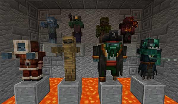 Imagen donde podemos ver a las ocho principales criaturas que añade el mod Rotten Creatures 1.15.2.