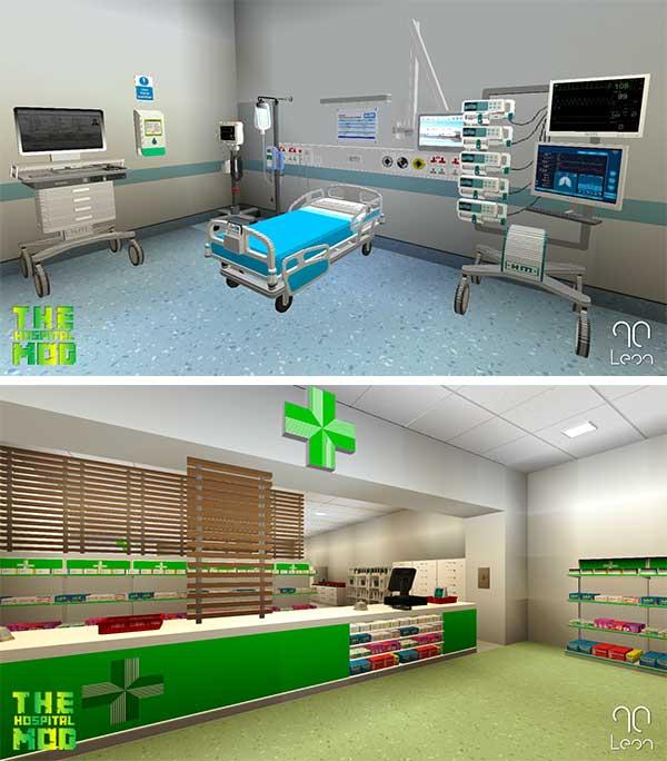 Imagen donde podemos ver una sala de operaciones de un hospital y una farmacia, creados a partir del mod The Hospital 1.15.2.