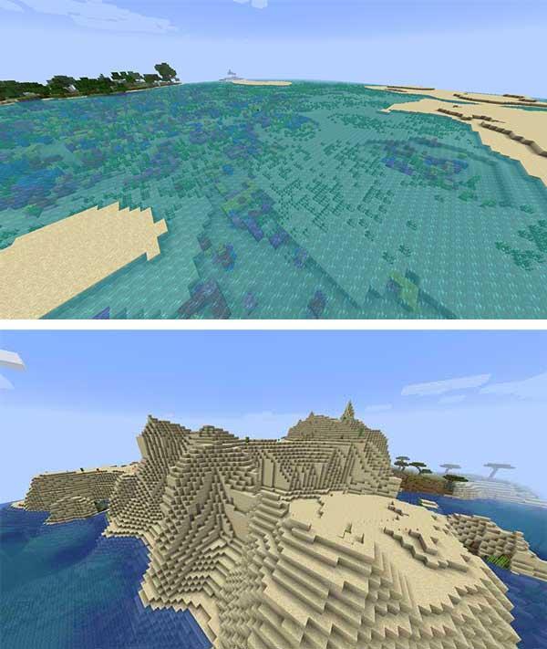 Imagen compuesta donde podemos ver dos ejemplos de los nuevos biomas que añade el mod Voyage 1.15.2.