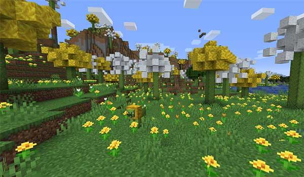 Imagen donde podemos ver el bioma de Dandelion Fields que añade el mod World of Wonder 1.15.2.