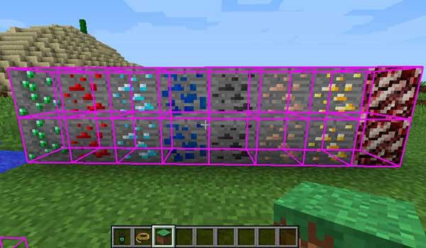 Imagen donde podemos ver cómo funciona la función de detección de recursos minerales que añade el mod Adventure Tools 1.16.1.