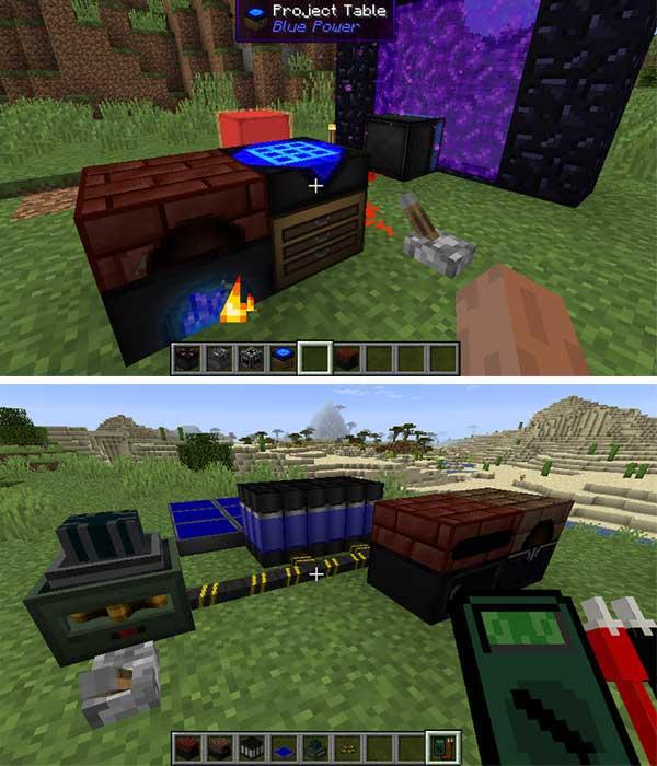 Imagen donde podemos ver algunas de las máquinas y objetos que nos ofrecerá el mod Blue Power 1.16.1, 1.16.2 y 1.16.3.