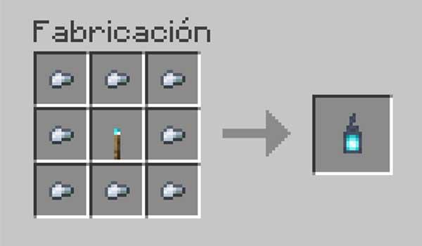 Receta para hacer un farolillo de almas en Minecraft.