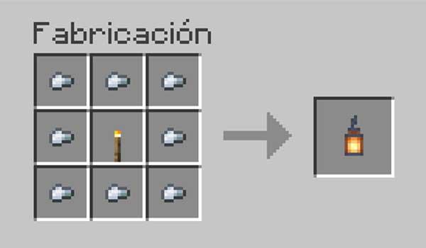 Receta para hacer un farolillo en Minecraft.