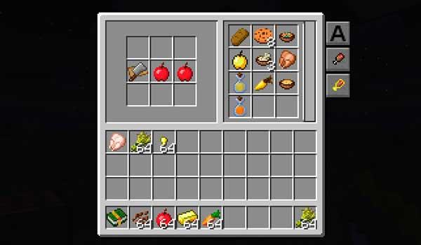 Imagen donde podemos ver una de las recetas que nos ofrece el libro de recetas que añade el mod Cooking for Blockheads 1.16.1.
