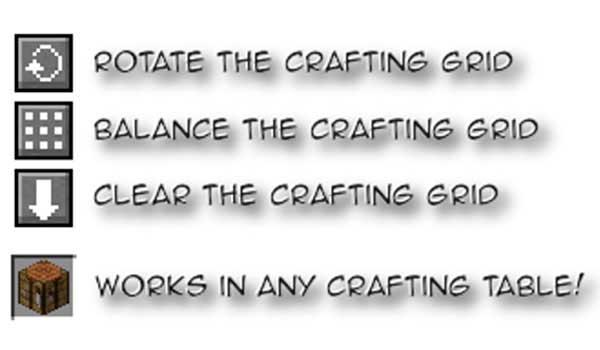 Imagen donde podemos ver algunas de las funciones que nos ofrecerá el mod Crafting Tweaks 1.16.1 para gestionar la mesa de crafteo.
