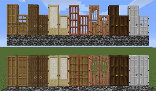 Imagen donde podemos ver cómo son las puertas de tres bloques de altura que nos permitirá fabricar el mod Dramatic Doors 1.16.1, 1.16.2 y 1.16.3.