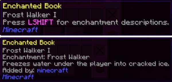 Imagen donde podemos ver la descripción, añadida por el mod Enchantment Descriptions 1.16.1, 1.16.2, 1.16.3 y 1.16.4, de uno de los encantamientos de Minecraft.