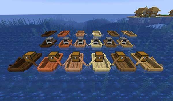 Imagen donde podemos ver una parte de los nuevos tipos de barco que podremos fabricar con el mod Extra Boats 1.16.1, 1.16.3, 1.16.4 y 1.16.5.