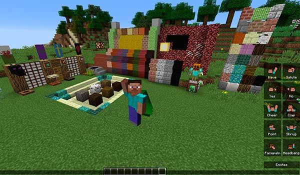 Imagen donde vemos un jugador utilizando los emotes que añade el mod Quark 1.16.1.