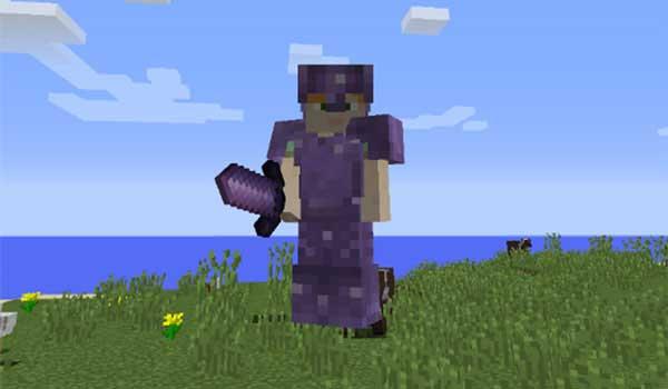 Imagen donde podemos ver un jugador equipando una de las armaduras que nos ofrece el mod Rhodonite 1.16.1.