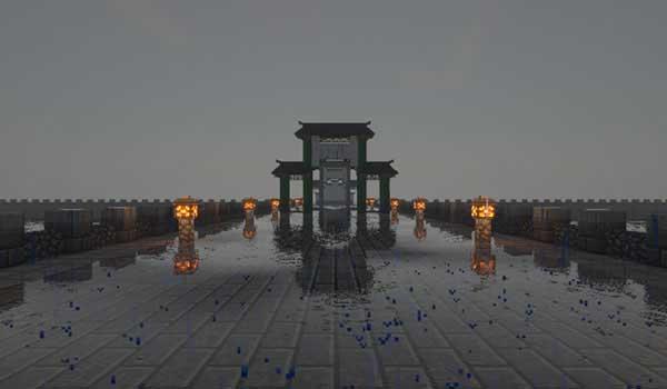 Imagen donde podemos ver una estructura construida utilizando los nuevos bloques decorativos que nos ofrece el mod Chinese Workshop 1.16.1, 1.16.2, 1.16.3, 1.16.4 y 1.16.5.
